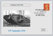GB 2016 centenary of the tank militaria tanks privately produced (white) glossy postal card 150 x 100mm superb used #3
