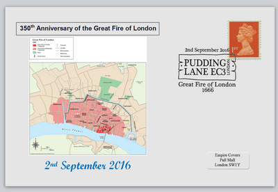 GB 2016 350th anniversary great fire of london disasters maps privately produced (white) glossy postal card 150 x 100mm superb used #1