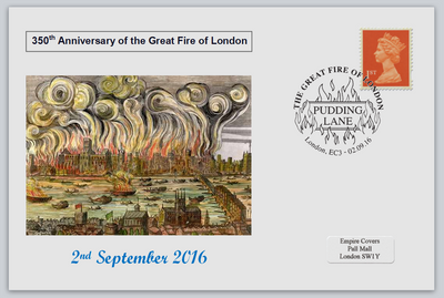 GB 2016 350th anniversary great fire of london disasters privately produced (white) glossy postal card 150 x 100mm superb used #2
