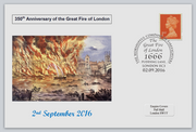 GB 2016 350th anniversary great fire of london disasters privately produced (white) glossy postal card 150 x 100mm superb used #3