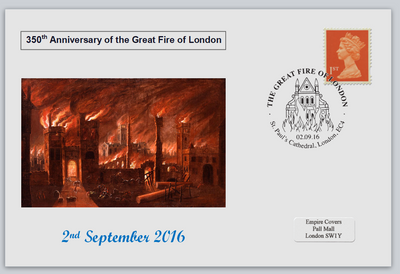 GB 2016 350th anniversary great fire of london disasters privately produced (white) glossy postal card 150 x 100mm superb used #4