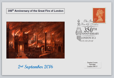 GB 2016 350th anniversary great fire of london disasters privately produced (white) glossy postal card 150 x 100mm superb used #5