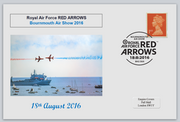 GB 2016 bournmouth show red arrows raf aviation ships privately produced (white) glossy postal card 150 x 100mm superb used #1