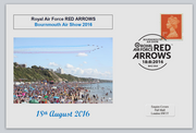 GB 2016 bournmouth show red arrows raf aviation privately produced (white) glossy postal card 150 x 100mm superb used #2
