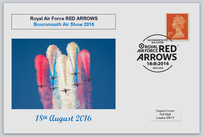GB 2016 bournmouth show red arrows raf aviation privately produced (white) glossy postal card 150 x 100mm superb used #3