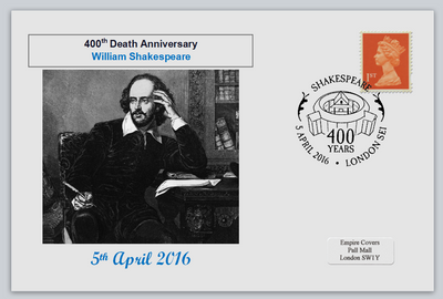 GB 2016 400th death anniversary william shakespeare literature privately produced (white) glossy postal card 150 x 100mm superb used #1