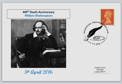 GB 2016 400th death anniversary william shakespeare literature privately produced (white) glossy postal card 150 x 100mm superb used #2