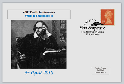 GB 2016 400th death anniversary william shakespeare literature privately produced (white) glossy postal card 150 x 100mm superb used #3