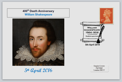 GB 2016 400th death anniversary william shakespeare literature privately produced (white) glossy postal card 150 x 100mm superb used #4