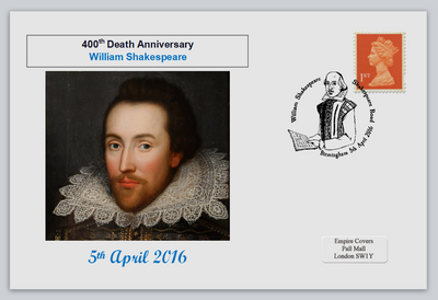 GB 2016 400th death anniversary william shakespeare literature privately produced (white) glossy postal card 150 x 100mm superb used #5