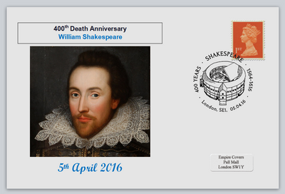 GB 2016 400th death anniversary william shakespeare literature privately produced (white) glossy postal card 150 x 100mm superb used #6