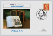 GB 2016 400th death anniversary william shakespeare literature privately produced (white) glossy postal card 150 x 100mm superb used #7