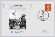 GB 2016 world war one pigeon messenger service birds postal militaria privately produced (white) glossy postal card 150 x 100mm superb used