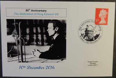 GB 2016 abdication of king edward viii royalty privately produced (white) glossy postal card 150 x 100mm superb used