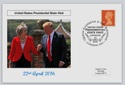 GB 2016 presedential state visit donald trump theresa may privately produced (white) glossy postal card 150 x 100mm superb used #1