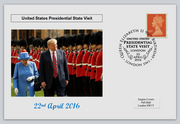 GB 2016 presedential state visit donald trump qeii royalty militaria privately produced (white) glossy postal card 150 x 100mm superb used #2