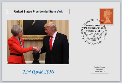 GB 2016 presedential state visit donald trump theresa may privately produced (white) glossy postal card 150 x 100mm superb used #3