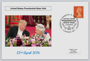 GB 2016 presedential state visit donald trump qeii royalty flowers privately produced (white) glossy postal card 150 x 100mm superb used #4