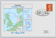 GB 2016 centenary battle of jutland maps naval militaria privately produced (white) glossy postal card 150 x 100mm superb used #1
