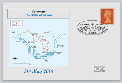 GB 2016 centenary battle of jutland naval militaria privately produced (white) glossy postal card 150 x 100mm superb used #2