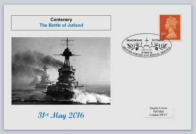 GB 2016 centenary battle of jutland naval militaria ships privately produced (white) glossy postal card 150 x 100mm superb used #4
