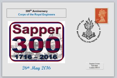 GB 2016 300th anniversary royal engineers militaria emblem privately produced (white) glossy postal card 150 x 100mm superb used #2