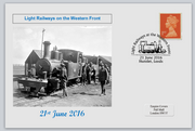 GB 2016 light railways on the western front militaria ww1 privately produced (white) glossy postal card 150 x 100mm superb used #1
