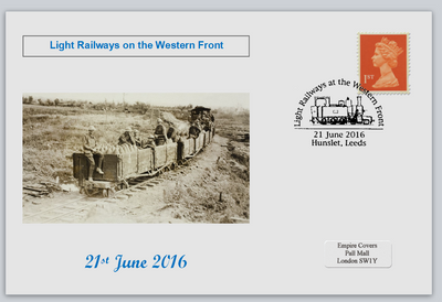GB 2016 light railways on the western front militaria ww1 privately produced (white) glossy postal card 150 x 100mm superb used #2