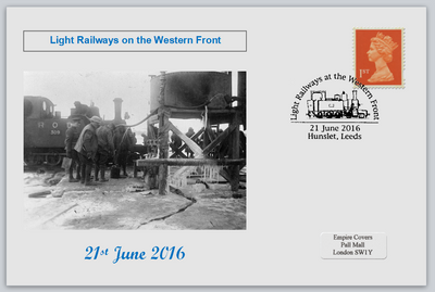 GB 2016 light railways on the western front militaria ww1 privately produced (white) glossy postal card 150 x 100mm superb used #3