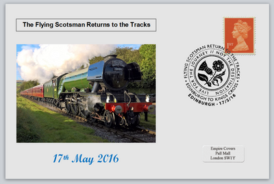 GB 2016 the return of the flying scotsman railways transport privately produced (white) glossy postal card 150 x 100mm superb used #1