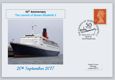 GB 2017 queen elizabeth 2 cruise liner ships transport tourism privately produced (white) glossy postal card 150 x 100mm superb used