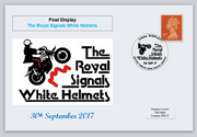 GB 2017 royal signals white helmets militaria motorcycles privately produced (white) glossy postal card 150 x 100mm superb used #1