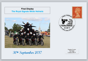GB 2017 royal signals white helmets militaria motorcycles privately produced (white) glossy postal card 150 x 100mm superb used #2