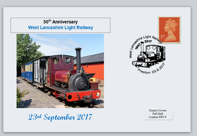GB 2017 west lancashire light railways transport trains privately produced (white) glossy postal card 150 x 100mm superb used