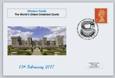 GB 2017 windsor castle worlds oldest inhabited royalty privately produced (white) glossy postal card 150 x 100mm superb used