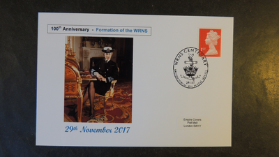 GB 2017 100 years wrns wrens women princess anne militaria emblem privately produced (white) glossy postal card 150 x 100mm superb used #3