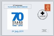 GB 2018 70th anniversary nhs national health service medical privately produced (white) glossy postal card 150 x 100mm superb used #2