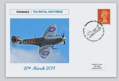GB 2018 centenary royal air force raf aviation spitfire privately produced (white) glossy postal card 150 x 100mm superb used