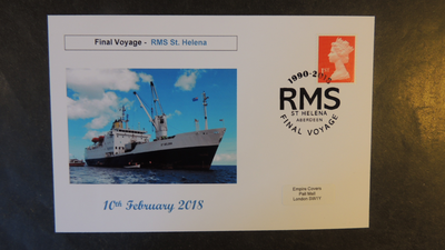GB 2018 rms st helena transport ships tourism privately produced (white) glossy postal card 150 x 100mm superb used