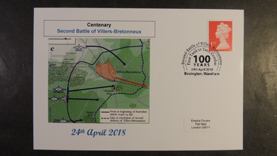 GB 2018 centenary second battle of villers-bretonneux militaria tanks privately produced (white) glossy postal card 150 x 100mm superb used #1