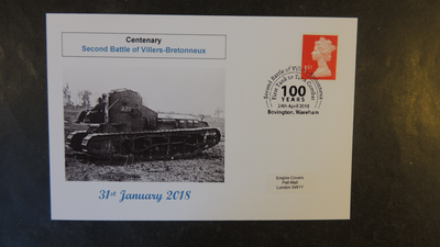 GB 2018 centenary second battle of villers-bretonneux militaria tanks privately produced (white) glossy postal card 150 x 100mm superb used #2