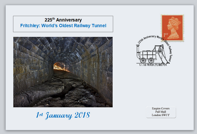 GB 2018 fritchley world's oldest railway tunnel privately produced (white) glossy postal card 150 x 100mm superb used