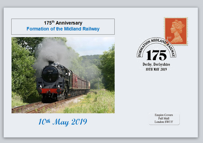 GB 2019 175th anniversary formation midland railway transport privately produced (white) glossy postal card 150 x 100mm superb used #1
