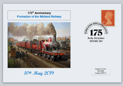 GB 2019 175th anniversary formation midland railway transport privately produced (white) glossy postal card 150 x 100mm superb used #2
