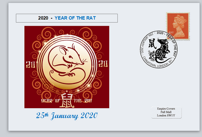 GB 2020 lunar new year of the rat rodents privately produced (white) glossy postal card 150 x 100mm superb used