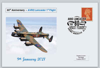 GB 2021 80th anniversary avro lancaster bomber militaria raf ww2 wwii aviation privately produced (white) glossy postal card 150 x 100mm superb used