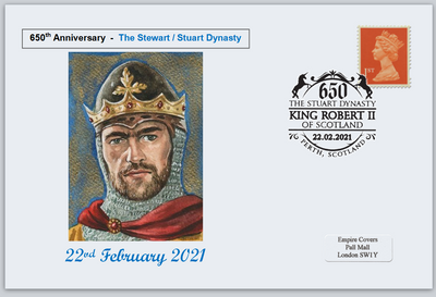 GB 2021 650th anniversary stewart stuart dynasty scotland royalty privately produced (white) glossy postal card 150 x 100mm superb used #1