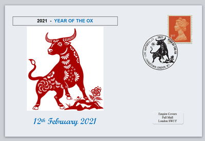 GB 2021 lunar new year of the ox bovine privately produced (white) glossy postal card 150 x 100mm superb used #2