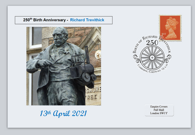 GB 2021 250th birth anniversary richard trevithick railways transport statues privately produced (white) glossy postal card 150 x 100mm superb used #1