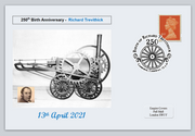 GB 2021 250th birth anniversary richard trevithick railways transport privately produced (white) glossy postal card 150 x 100mm superb used #2